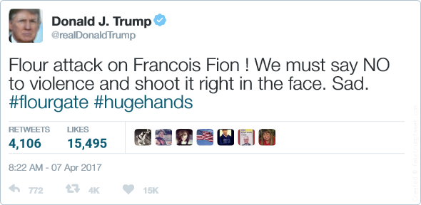 Flour attack on Francois Fion ! We must say NO to violence and shoot it right in the face. Sad. #flourgate #hugehands