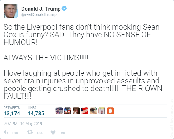 So the Liverpool fans dont think mocking Sean Cox is funny? SAD! They have NO SENSE OF HUMOUR!     ALWAYS THE VICTIMS!!!!!     I love laughing at people who get inflicted with sever brain injuries in unprovoked assaults and people getting crushed to death!!!!!! THEIR OWN FAULT!!!!